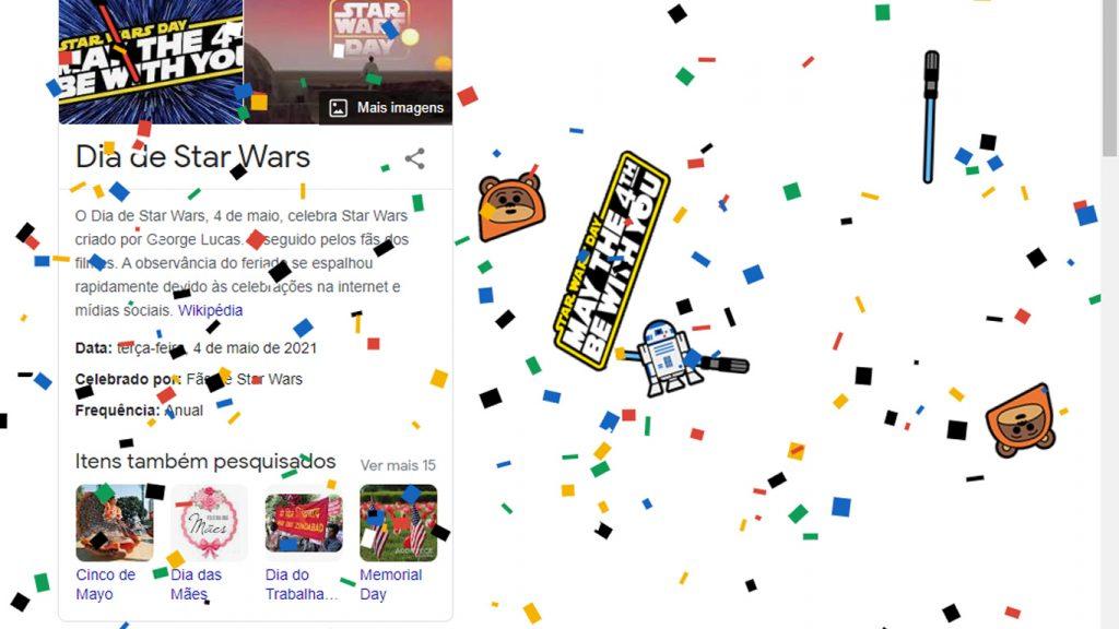Google-Dia-de-Star-Wars-1-1024x576 Dia de Star Wars: Pesquisa no Google Faz Chuva de Confetes com o Tema