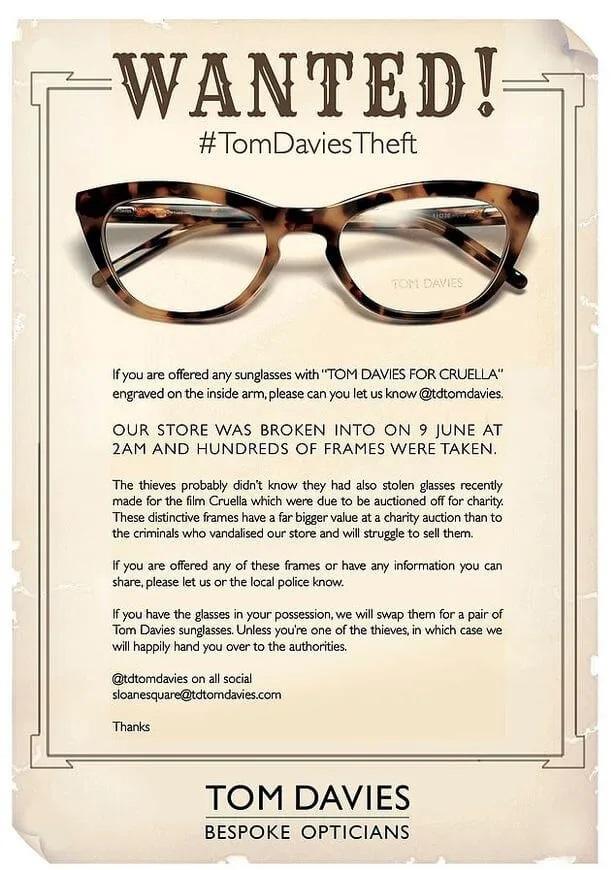 Cruella-Oculos-roubados Cruella: Óculos usados pela personagem no filme são roubados