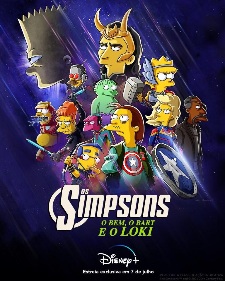 Os-Simpsons-O-Bem-o-Bart-e-o-Loki Marvel anuncia Os Simpsons: O Bem, o Bart e o Loki